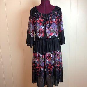 Vintage 60s/70s Black Floral Boho Prairie Dress